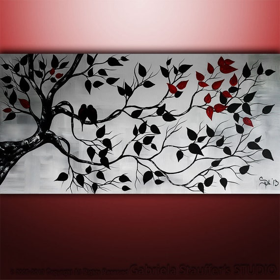 Abstract Painting Birds Landscape Tree