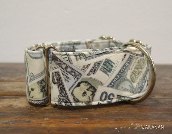 Martingale dog collar model Dollar. Adjustable and handmade with 100% cotton fabric. US money Wakakan