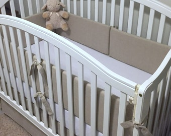 Natural LINEN Crib Bumper- Restoration Hardware Inspired- Choose your own colors
