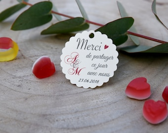 "Sweets paper - model ""initials"" - wedding tags-"