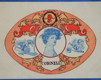 Cornell College Girl 1865 Medallion Antique Postcard