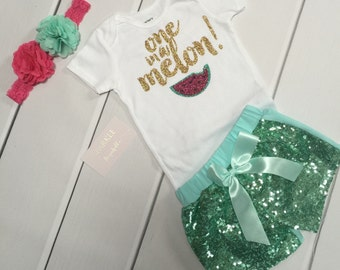 One in a Melon First Birthday Outfit Girl | Summer 1st Birthday Outfit | Watermelon Birthday outfit | Watermelon shorts baby girls