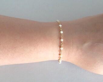 Bridesmaid Freshwater Pearl Bracelet, Tiny Pearl Bracelet,Gold Filled, Brides Bracelet, Minimalist Bracelet,Delicate Bracelet,Child Bracelet