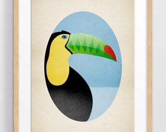 Toucan Print, Jungle Nursery Decor, Nursery Bird Art, Alphabet Art Print, Zoo Animal, Letter T