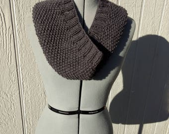 Grey Gray Charcoal Hand Knit Cowl Scarf