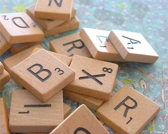 Wooden Scrabble Letter Tiles Game Pieces lot of 25 for crafting