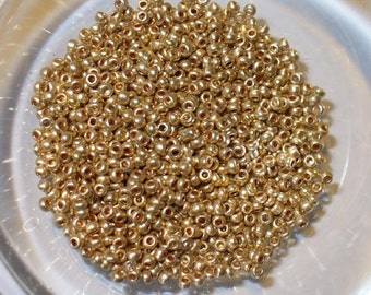 Antique 16/0 Micro Seed Beads - Metallic Gold Color Glass