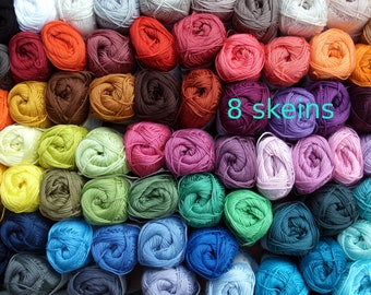 8, cotton crochet yarn, Catania, 400 gram in total, each 50 g, pick your colors, now 96 colors, amigurumi, lalylala, granny square, smc