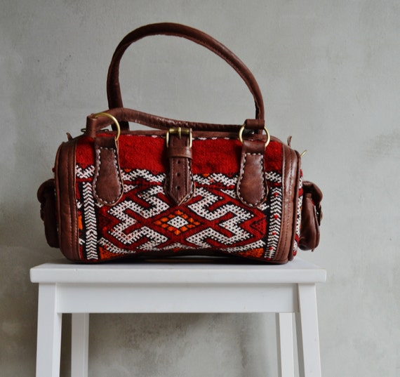 Shoulder Leather Bag- Winter Finds Moroccan Red Kilim Leather Satchel Cross Shoulder Straps Berber style-bag, handbag, purse, gifts, handbag