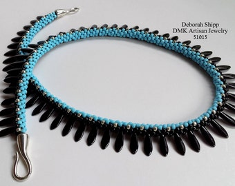 """TUTORIAL ONLY - """"Color Block Dagger"""" Kumihimo Necklace"""
