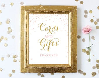 Bridal Shower Cards and Gifts Sign Printable 8x10 . Pink and Gold Glitter Bridal Shower Wedding Sign . Gift Table Digital Instant Download