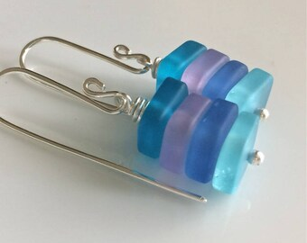 Multi Color Sea Glass Earrings   Blue and Lavender Earrings   Cultured Sea Glass   Beach Glass   Sterling Silver Earrings