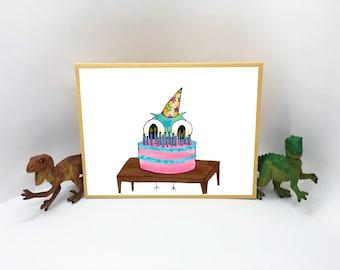 Owl with Cake Birthday Card // Celebration Card