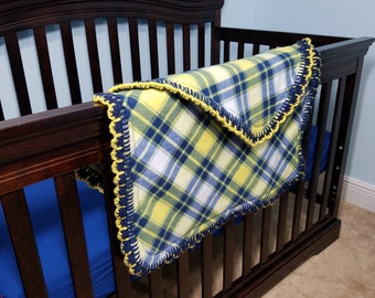 Plaid Cuddly Soft Yellow and Blue Baby or Toddler Fleece Blanket with Crocheted Edging