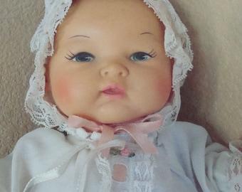 "Vintage 1972 Horsman Baby Doll Soft Vinyl & Cloth w/ Christening Dress 13""lg"