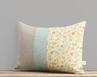 LIMITED EDITION: Pastel Floral Liberty Print Decorative Pillow by JillianReneDecor - Shabby Chic Home Decor   Spring Decor   Nursery