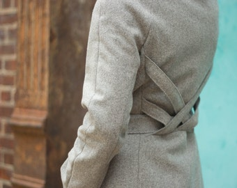 Women's wool melton gray winter coat, back woven detail, high collar with leather and brass closure