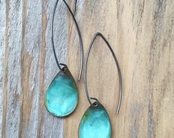 Verdigris Reverse Domed Earrings