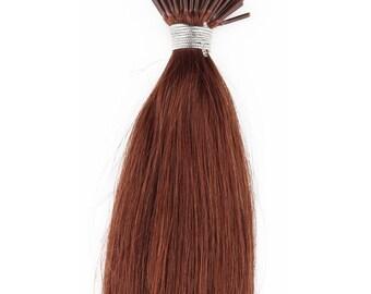 22inch 100grs,100s,Stick (I) Tip Human Hair Extensions  33 Dark Auburn