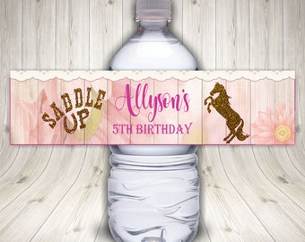 Cowgirl Water Bottle Labels, Western Party, Birthday Party, Pink Cowgirl, Cowgirl Birthday, Cowgirl Party, Cowgirl Labels, Pink Western,