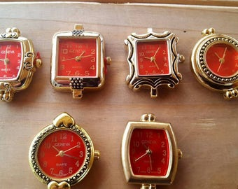 Red Beading Watch Faces with NO rings, Watch Jewelry, Watch Making, Geneva Watches