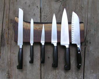 Magnetic Knife Rack, Knife Holder - Black Walnut / Live edge