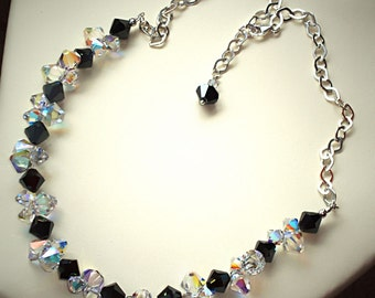 Swarovski Crystal jet HematiteABX2 and clear crystal AB necklace