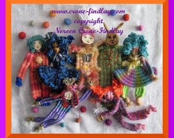 PDF Pattern for delightful dolls woven with all 6 sticks of the stick weaving loom.