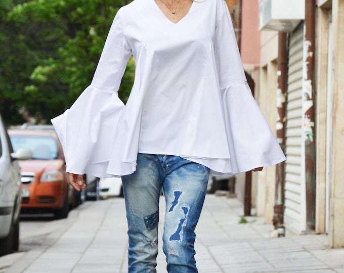 Elegant Woman Shirt, Sexy Cotton Poplin Shirt, Maxi Trumpet Sleeves Top, Asymmetrical White Shirt by SSDfashion