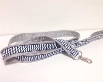 Child Harness. Baby & Toddler harness, lead. Cotton webbing leash. Soft Grey webbing and Navy Blue  Ribbon.