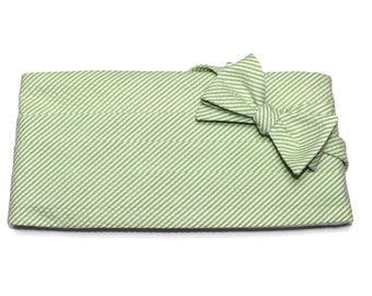 Lime Green Seersucker Stripe Cummerbund & Bow Tie~Mens Cummerbund Set~Mens Formal Wear~Groomsmen~Groom~Self Tie Bow Tie~Men Gift~Wedding
