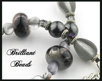 Black & Grey Handmade Lampwork Bracelet with Swarovski Petrol Pearls, Hearts, and Czech Crystals  SRAJD
