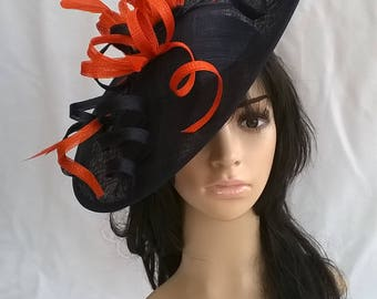 Navy Blue with Orange  Feather Fascinator..Stunning Sinamay Fascinator on a Headband..