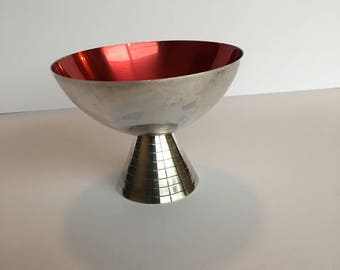 Mid Century Carl Christiansen Denmark Silver Plate and Enamel Red Pedestal Bowl