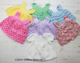 CROCHET PATTERN  For Baby Dress and 6 Aprons PDF 20 Digital Download