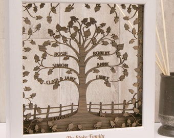 Personalised Wooden 3D Family Tree Wall Art