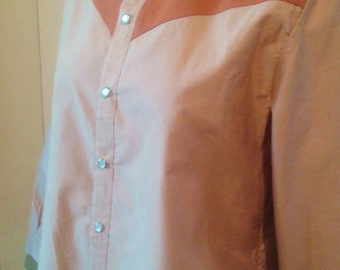 original cutting flesh nude and rust orange Cowboy western shirt burned 40