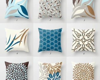 Pillow Covers, Decorative Pillows, Mix Match Pillow Collection in Blue Brown Gray Taupe, Geometric Pillows, Designer Pillows, Cushion Covers