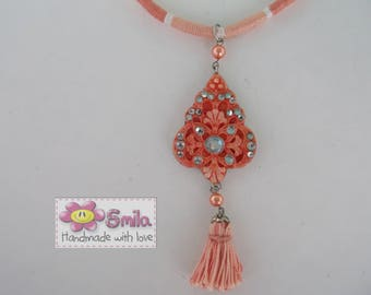 Yarn Wrapped and Salmon Pendant