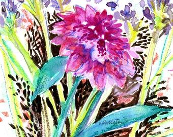 Floral Watercolor Print, Flowers, Fine Art, Modern Art, Garden Floral, Pink Flower Wall Art, Botanical Art, Watercolor Floral Painting