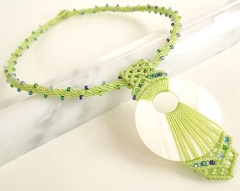 Beaded Kumihimo Necklace, Mother Of Pearl Gogo Pendant with Beaded Macrame Accents In Green and Blue