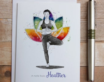 Personalized Yoga Note Cards - yoga instructor gift, yoga chakras, lotus flower, watercolor yoga chakras, tree pose, thank you, meditation