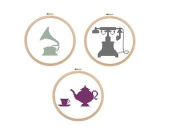 Save 20% - Set of 3 vintage cross stitch patterns, Gramophone Cross Stitch, Vintage Pattern, Telephone Pattern, Teapot Pattern