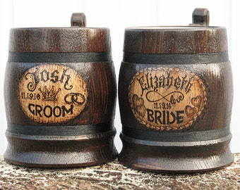2 Personalised Wedding Mugs/Personalized Groom Gift/Unique Wedding Gift/Gift For Groom From Bride/Groom Gifts/Mason Jar Mugs/Wooden Beer Mug