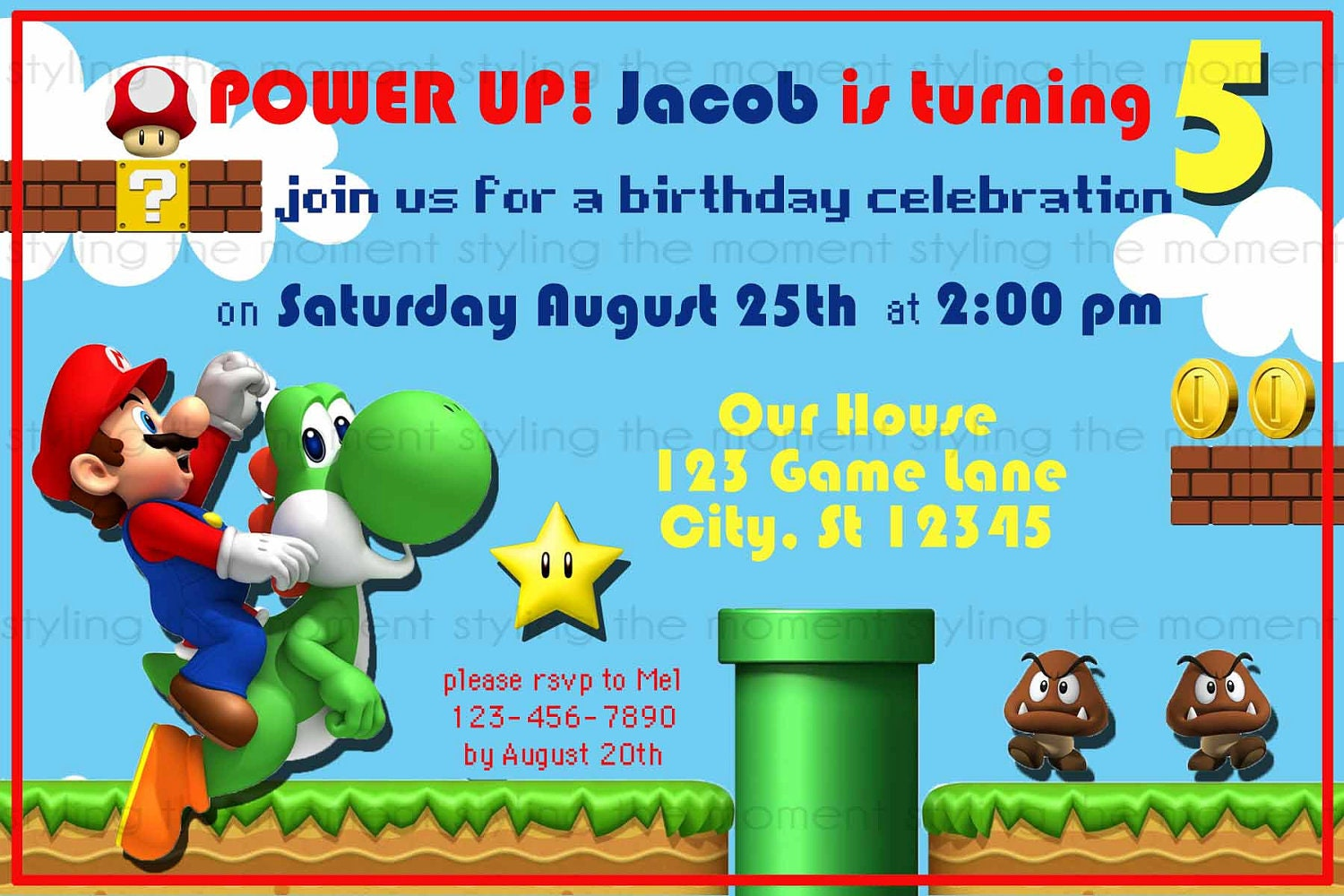 Mario Brothers Invitation