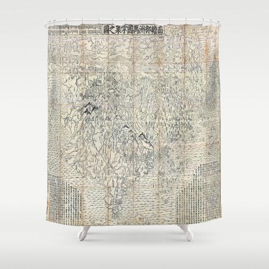 Ancien bouddhiste japonais monde carte rideau de douche - Rideau de douche carte du monde ...