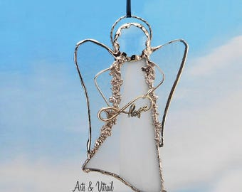 "White Angel Stained Glass Suncatcher - Carrier INFINITY LOVE or LOVE - 5 ""x 3"" (12 x 7 cm),  with decorative solder"
