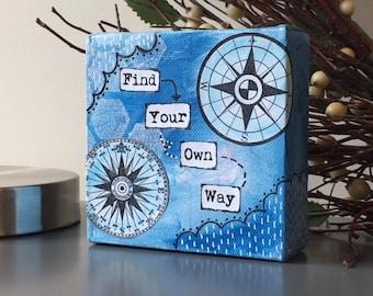 Mini Mixed Media Canvas - Compass