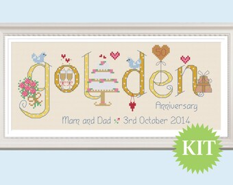 Golden 50th Wedding Anniversary Customisable Cross Stitch KIT