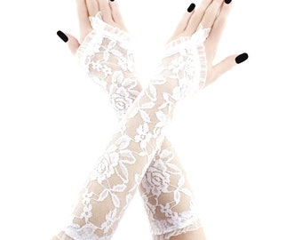 lace gloves ivory white gloves bridal gloves long gloves bridesmaid gloves white gloves without fingers fabric lace gloves white 4550